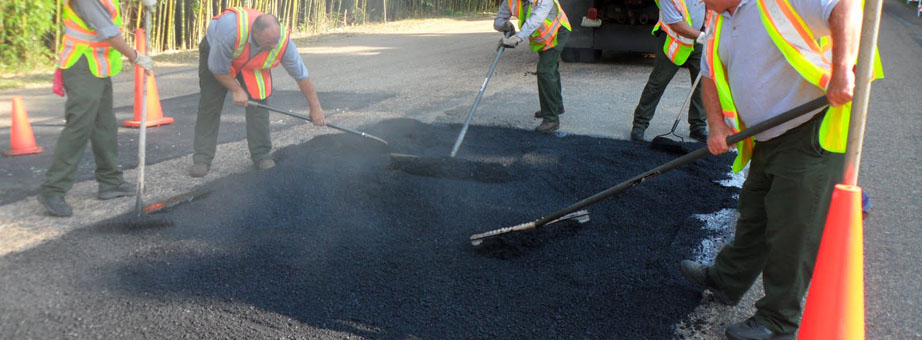 Asphalting a road